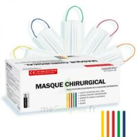 Masques Chirurgicaux Couleur Blanc Elastiques Colorés Boite De 50 à BRUGUIERES